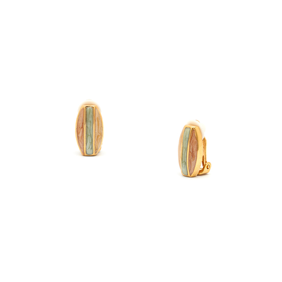 Rodney Holman Button Clip On Earrings - Teak Gold