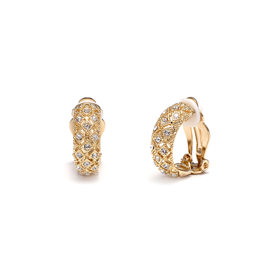 Rodney Holman Diamante Half Hoop Clip Earrings - Gold Plate