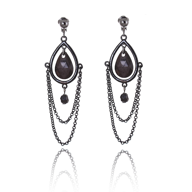 Black Chain Drop Chandelier Clip On Earrings