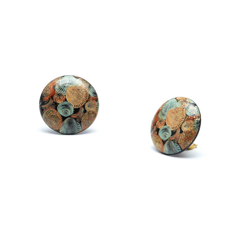 Seashell Print Button Clip On Earrings