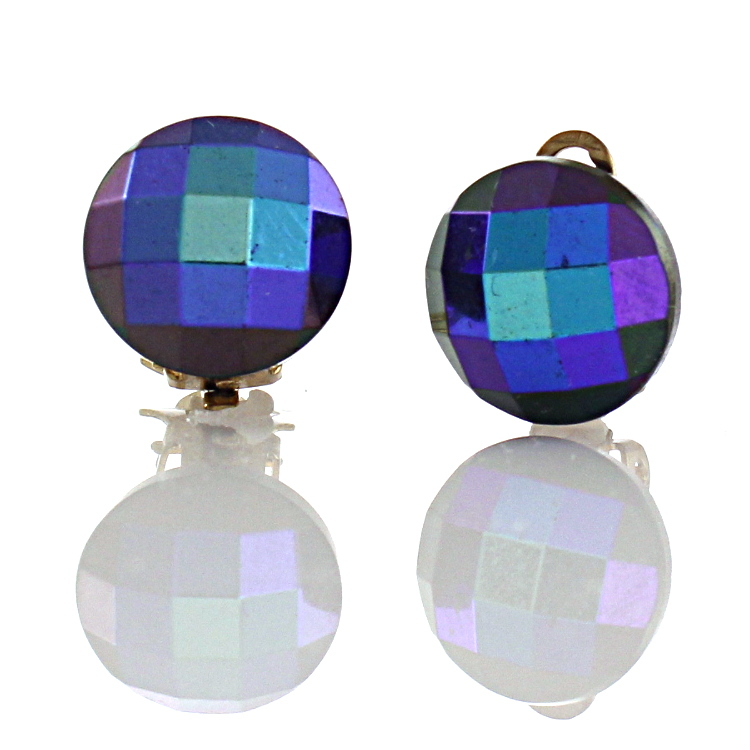 Blue Faceted Button Clip On Earrings