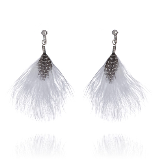 Fluffy White Feather Clip On Earrings
