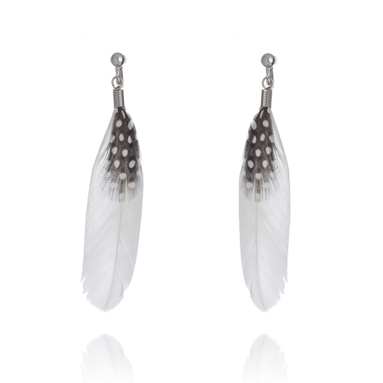 Feather Clip On Earrings - White