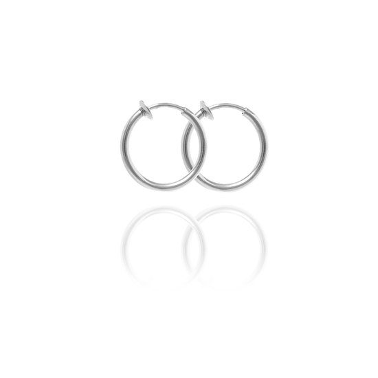 Sexy Spring Loaded Metal Tone Hoops - 1cm