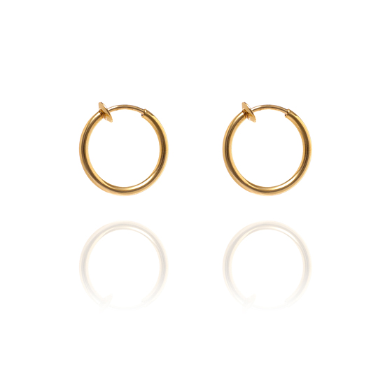 Sexy Spring Loaded Gold Tone Hoops - 1.25cm x3