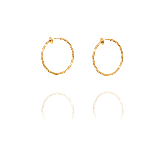 Creole Twisted Hoop Clip On Earrings - 3cm Gold
