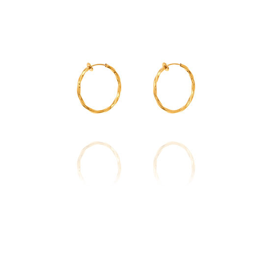 Creole Twisted Hoop Clip On Earrings - 2.5cm Gold