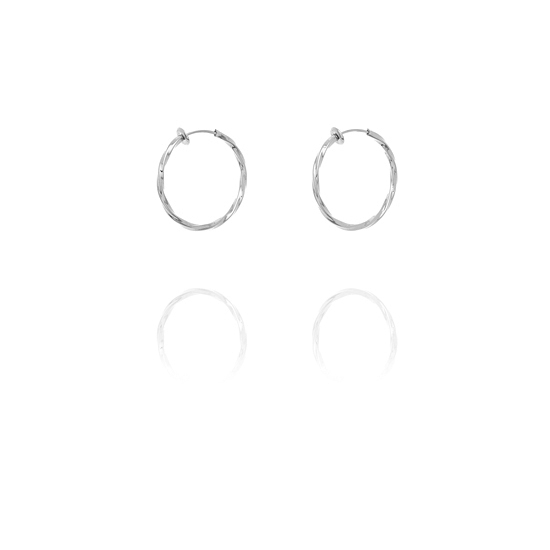Creole Twisted Hoop Clip On Earrings - 2.5cm Silver