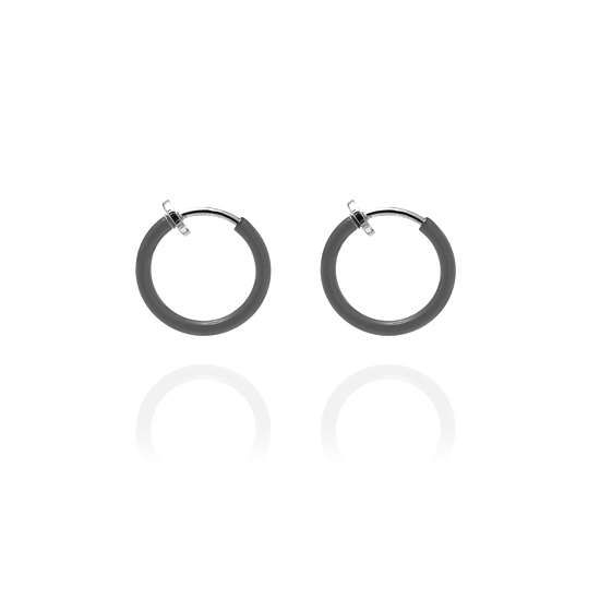 Unisex 1.3cm Gunmetal Hoop Clip On Earrings