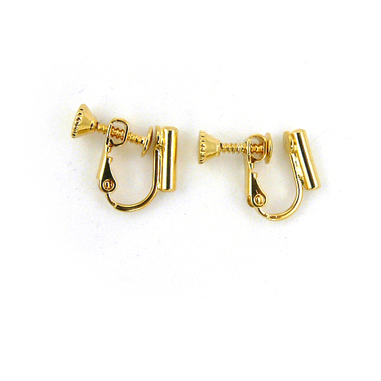 Screw On Barrel Pierced to Clip Earring Converter Gold