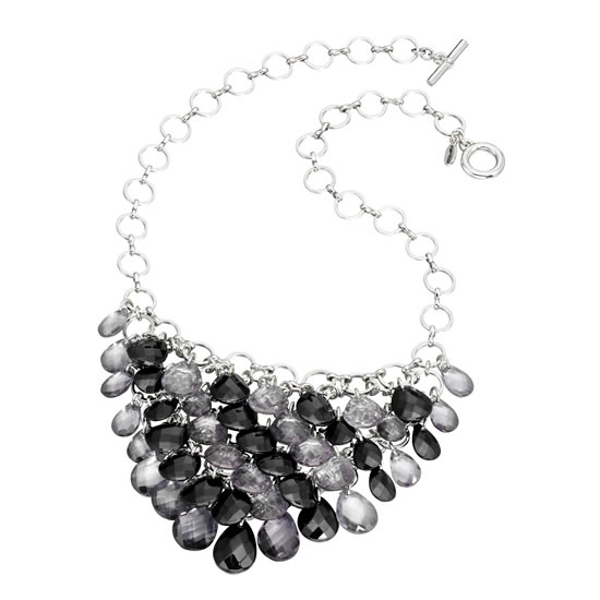 Fiorelli Black Crystal Drop Waterfall Necklace