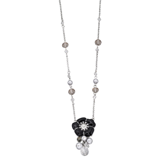 Fiorelli Black Enamel Floral Necklace