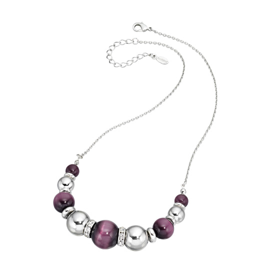 Fiorelli Silver and Catseye Purple Ball Necklace