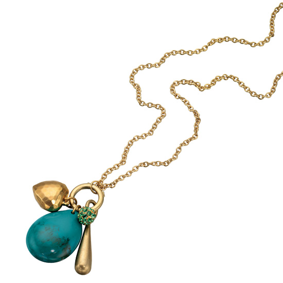 Fiorelli Turquoise Stone Drop Gold-Tone Necklace