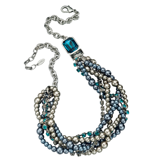 Fiorelli Multi Strand Pearl and Blue Stone Necklace