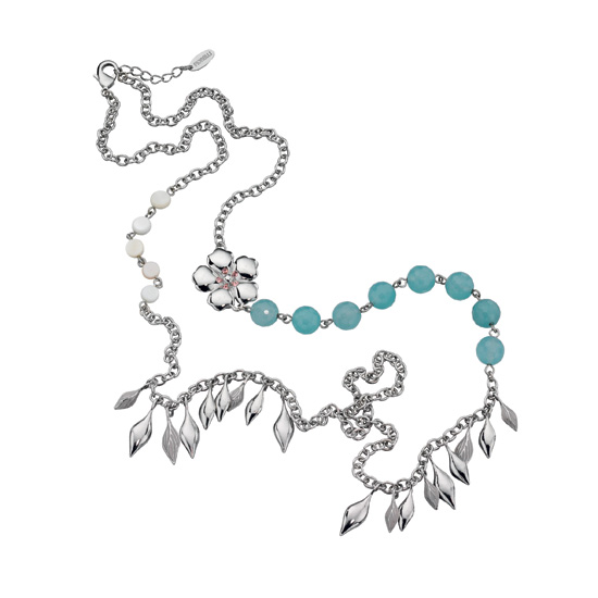 Fiorelli Silver and Aqua Charm Necklace