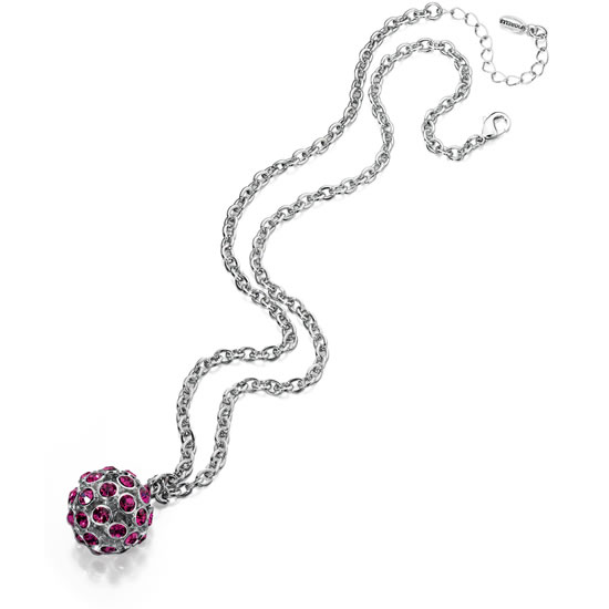 Fiorelli Pink Crystal Mirror Ball Necklace
