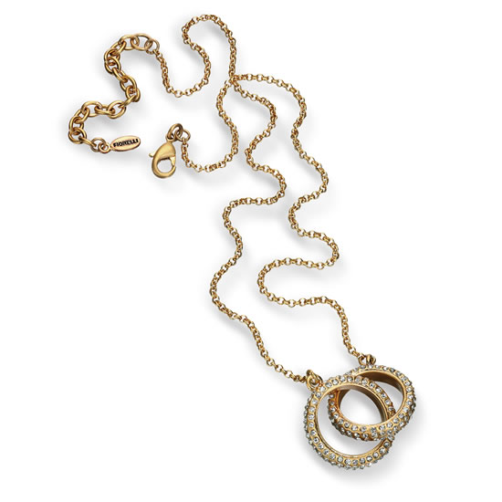 Fiorelli Entwined Crystal Ring Necklace - Gold-Tone