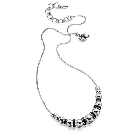 Fiorelli Rhodium and Jet Black Beaded Necklace