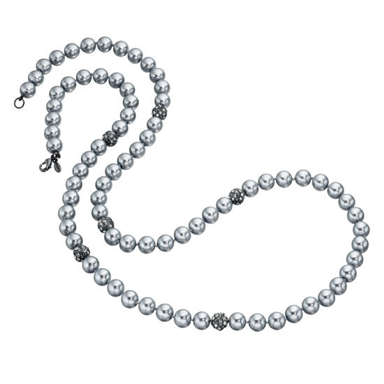 Fiorelli Long Silver Beaded Necklace