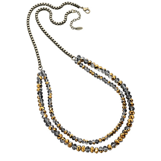 Fiorelli Double Grey and Gold Beaded Necklace