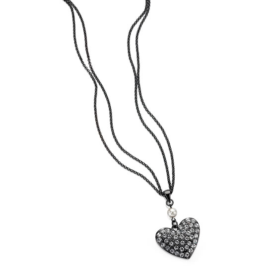 Fiorelli Black Double Strand Heart Necklace