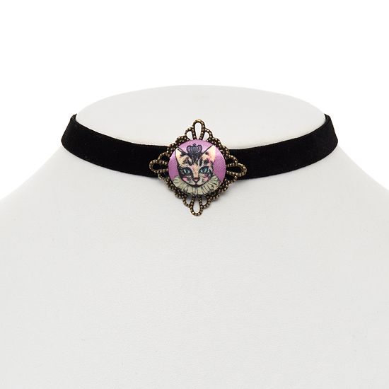 Princess Kitty Button Choker Necklace