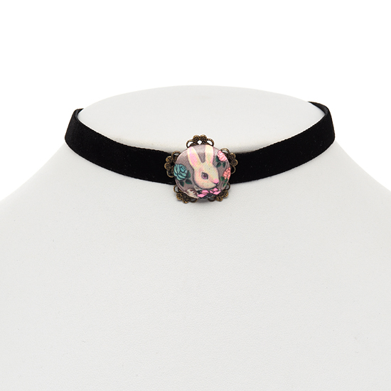 Bunny Button Choker Necklace