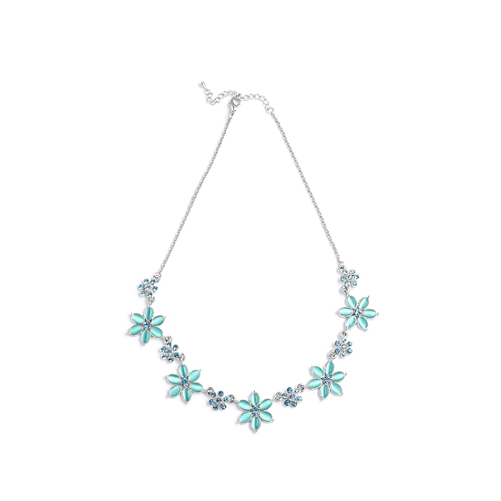 Rodney Holman Diamante and Flower Necklace - Blue