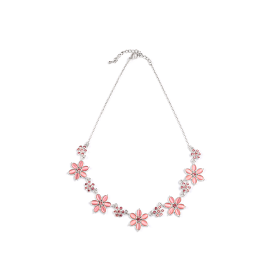 Rodney Holman Diamante and Flower Necklace - Baby Pink