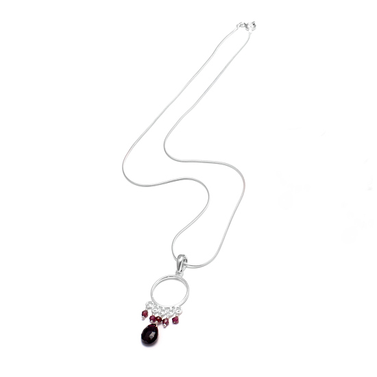 Angel Rocks Red Garnet Om Necklace