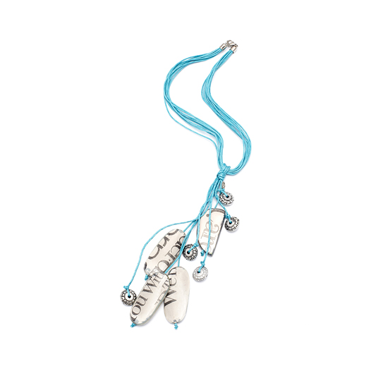 Multi-strand Cord Newspaper Print Necklace - Blue