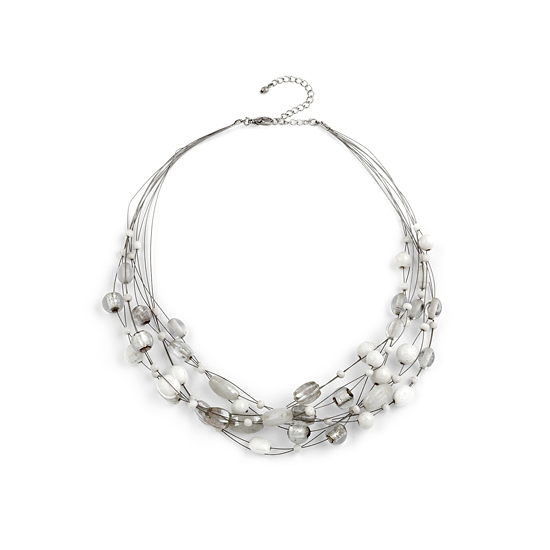 Look East Multi Layer Beaded Necklace - White