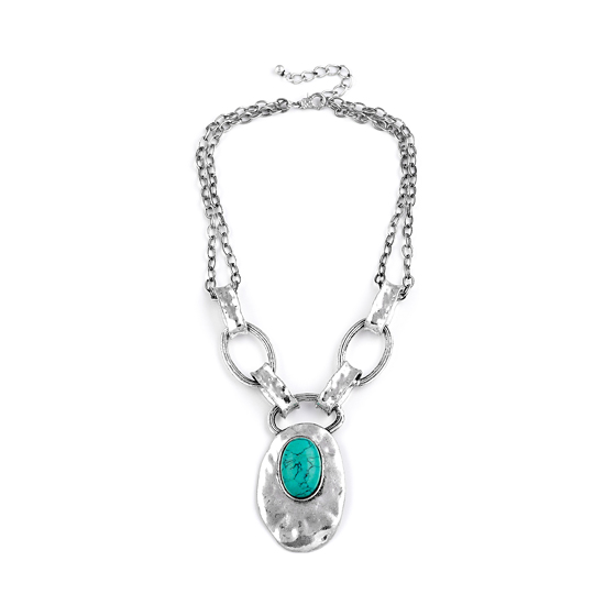 Look East Double Oval Necklace - Turquoise-coloured