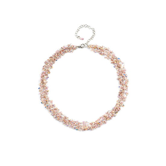 Look East Petite Multi Strand Pink Sequin Necklace