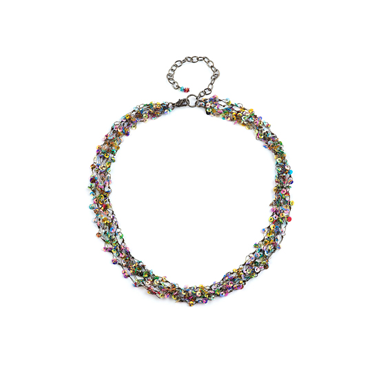 Look East Petite Multi Strand Dark Sequin Necklace