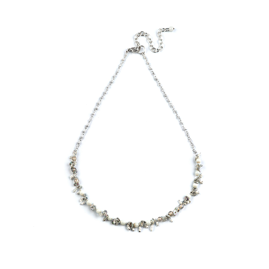 Look East Classic Petite Bead and Sequin Necklace - White