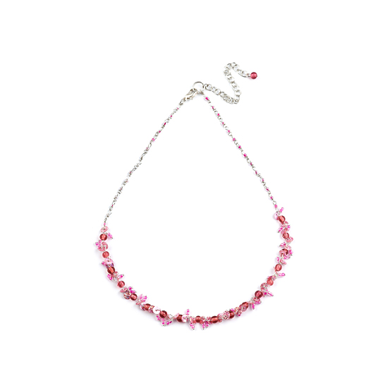 Look East Classic Petite Bead and Sequin Necklace - Pink