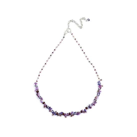 Look East Classic Petite Bead and Sequin Necklace - Purple