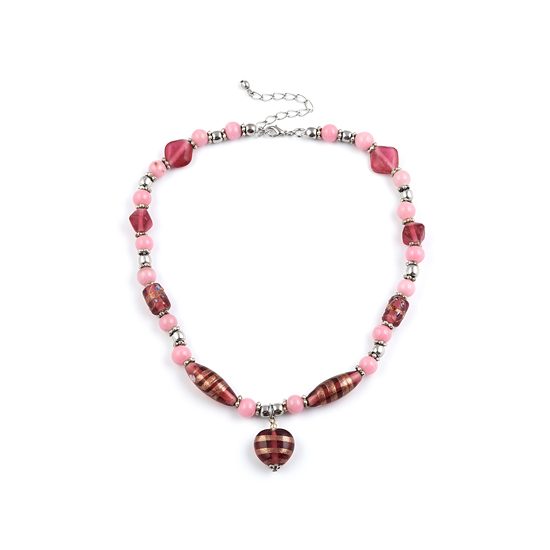 Look East Caramel Heart Necklace - Pink