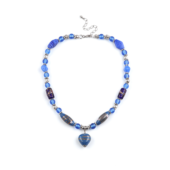 Look East Caramel Heart Necklace - Blue