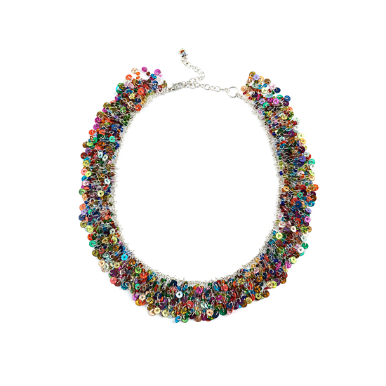 Look East Dark Sequin Cascade Necklace