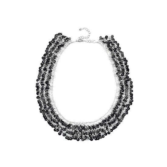 Look East Triple Layer Black Sequin Necklace