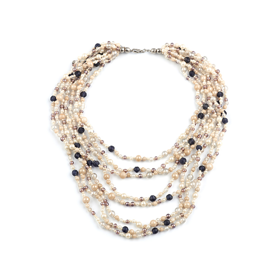 Look East Cream and Purple Multi Layer Beaded Necklace