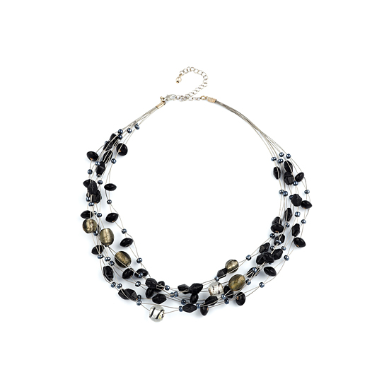 Look East Multi Layer Beaded Necklace - Black