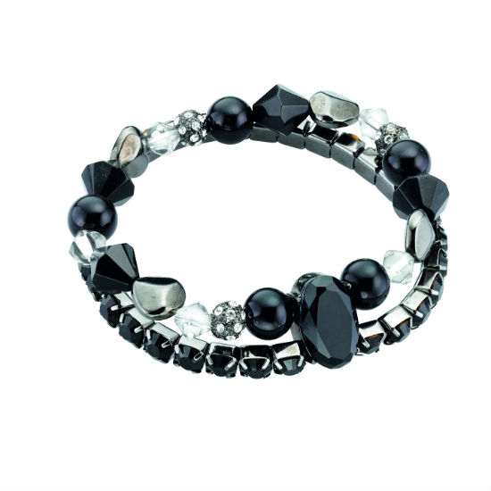 Fiorelli Double Row Elastic Beaded Bracelet - Black