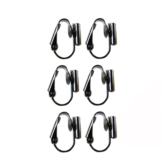 Clip On Earrings Converter Posts - Black Gunmetal 3 Pairs