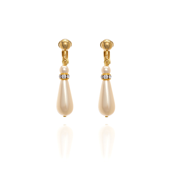 Classic Pearl Drop Clip On Earrings - Gold Finish