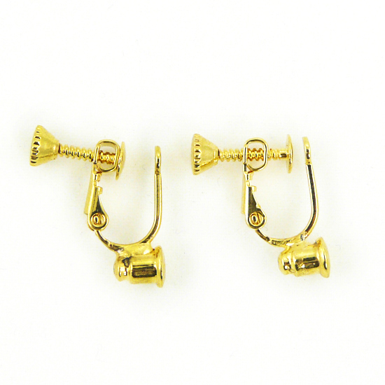 Screw On No Bend Pierced to Clip Earring Converter Gold 1 Pair