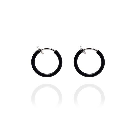801c7f828f6bb Sexy Spring Loaded Black Hoops - 1.25cm